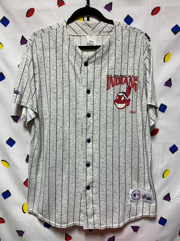 product details: MLB CLEVELAND INDIANS BUTTON UP PINSTRIPE COTTON JERSEY AS-IS photo