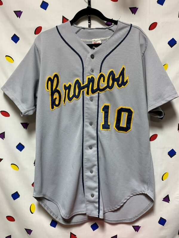 product details: RETRO STITCHED BRONCOS #10 BUTTON UP BASEBALL JERSEY photo
