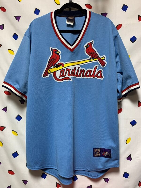 product details: MLB ST LOUIS CARDINALS THROWBACK PULLOVER BASEBALL JERSEY photo