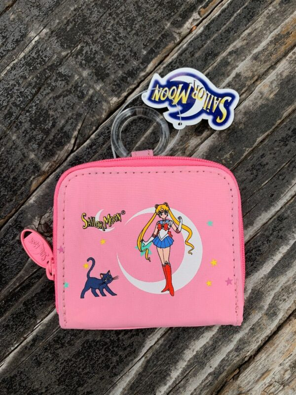product details: DEADSTOCK 1999 SAILOR MOON FABRIC COIN PURSE PINK USAGI TSUKINO AND LUNA photo
