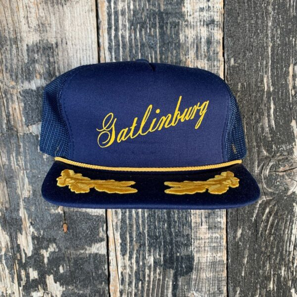 product details: VINTAGE GATLINBURG TENNESSEE TRUCKER SNAPBACK CAP RETRO WITH GOLD ROPE AS-IS photo