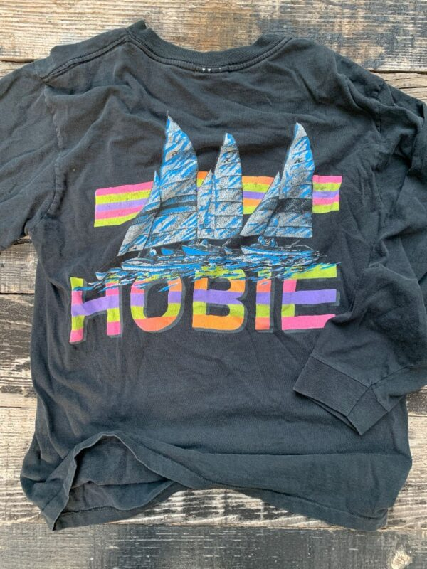 product details: 1980S HOBIE SUNSET SAILBOAT GRAPHIC NEON COLORS LONGSLEEVE TSHIRT photo