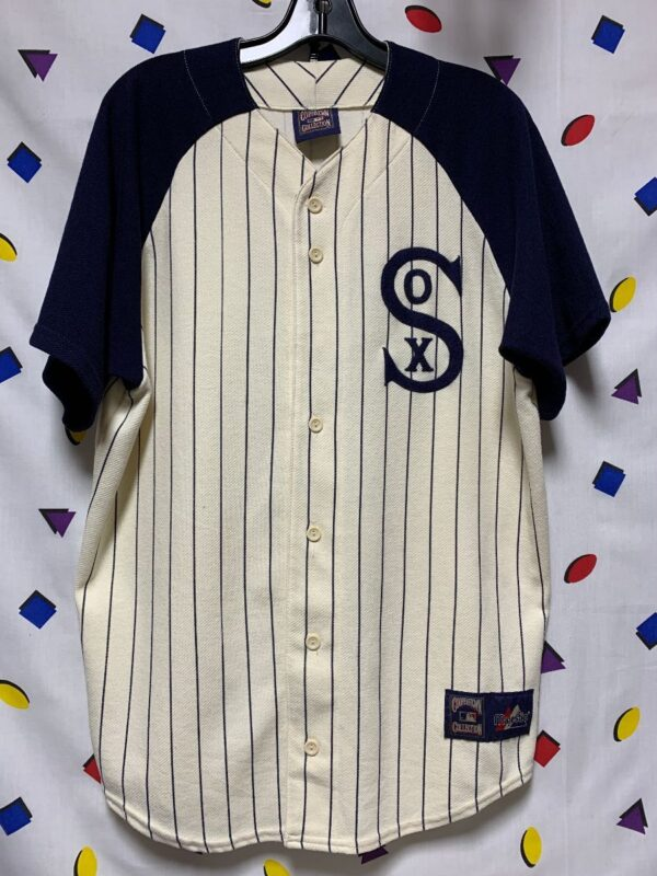 product details: WHITE SOX SS MLB BASEBALL JERSEY SOLID SLEEVES PINSTRIPE BODY CLASSIC LOGO photo