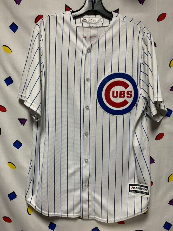 product details: CHICAGO CUBS JERSEY MLB BASEBALL SS BD PINSTRIPE RIZZO 44 MADE IN USA AS-IS photo
