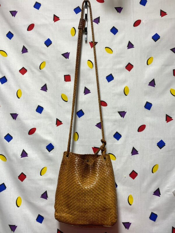 product details: VINTAGE LEATHER BASKET WEAVE CROSSBODY BUCKET BAG AS-IS photo