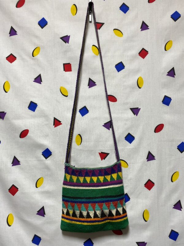 product details: WOVEN MULTICOLORED GEOMETRIC CROSSBODY ZIP BAG AS-IS photo
