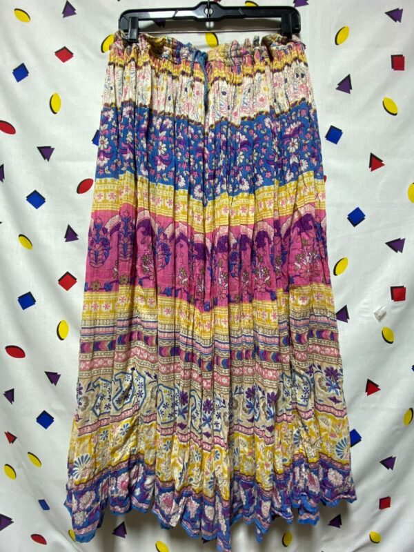 product details: MULTICOLORED FLORAL BOHEMIAN DRAWSTRING INDIA COTTON HIPPY SKIRT AS-IS photo