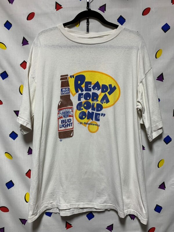 product details: READY FOR A COLD ONE BUD LIGHT BUDWEISER T-SHIRT AS-IS photo