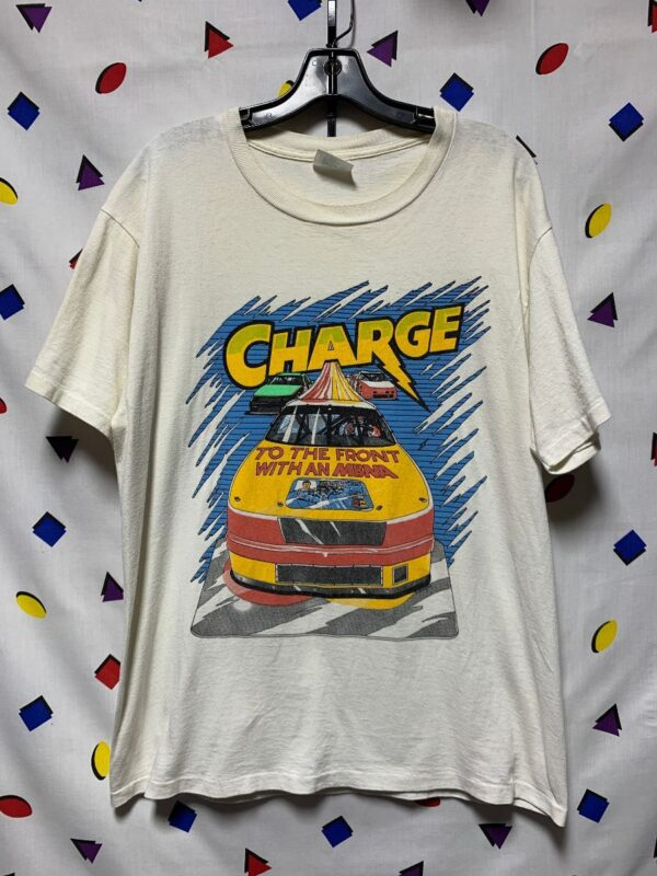 product details: CHARGE TO THE FRONT WITH AN MBNA NASCAR WINSTON CUP T-SHIRT AS-IS photo