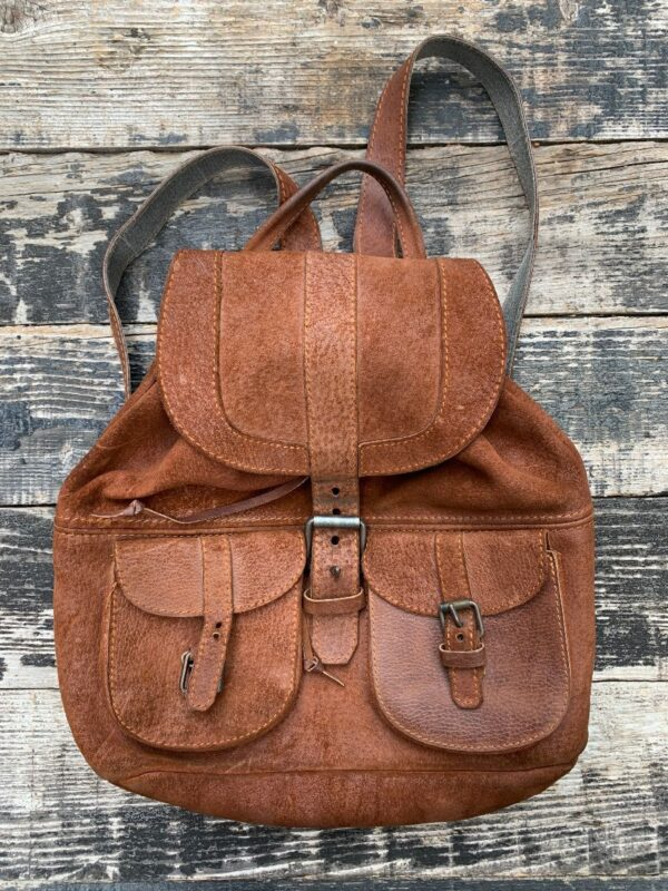 product details: HEAVY SUEDE LEATHER RUCKSACK BACKPACK W/ CONTRAST STITCHING AS-IS photo