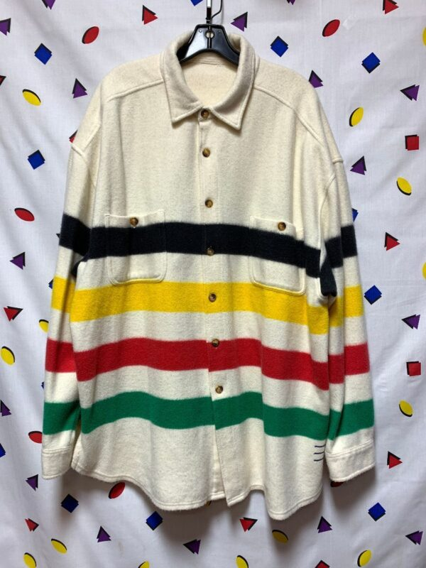 product details: OVERSIZED STRIPED MULTICOLOR FLEECE BUTTON UP JACKET photo