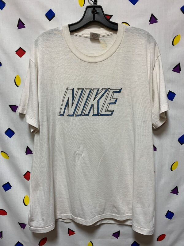 product details: VINTAGE PAPER THIN NIKE BLOCK PRINT GRAPHIC TSHIRT AS-IS #GREYTAG photo