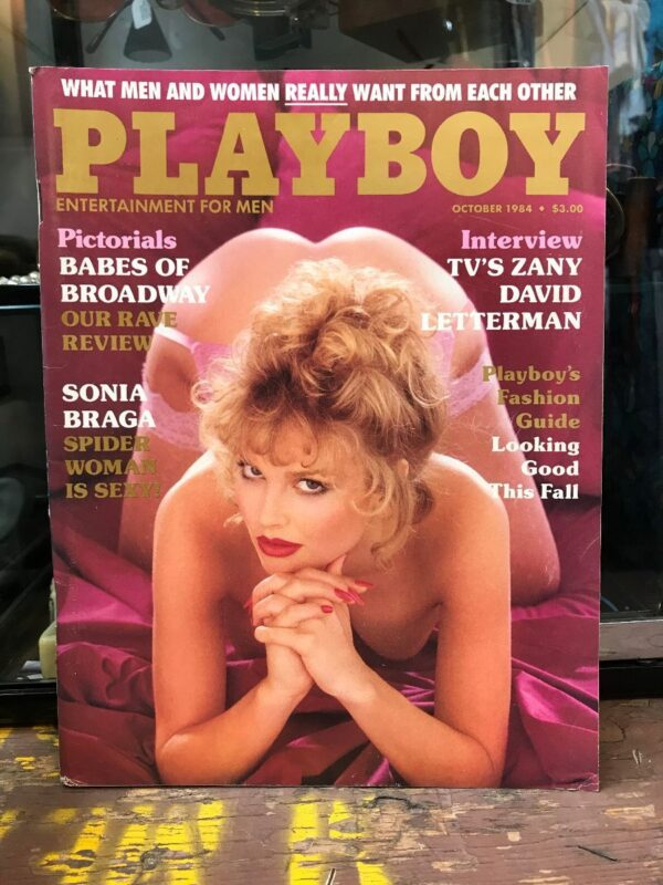 product details: PLAYBOY MAGAZINE - OCT 1984 - BABES OF BROADWAY SONIA BRAGA SPIDER WOMAN COVER - DAVID LETTERMAN photo