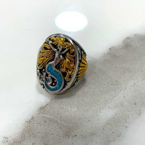 product details: RAD 2-TONE BRASS & SILVER CRUSHED TURQUOISE INLAY MERMAID BIKER RING photo