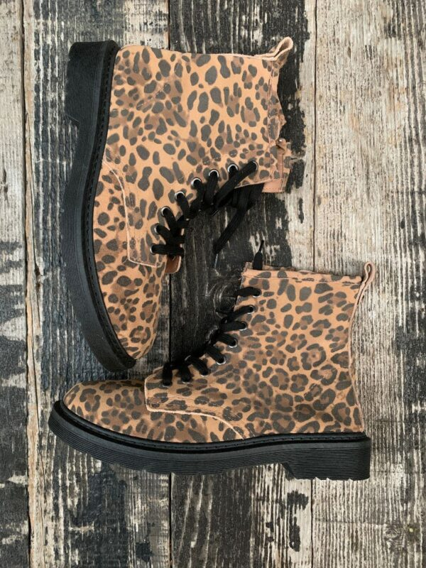 product details: FLANN LACE-UP ROUND TOE SIZE ZIP SUEDE BOOTIES WITH ALLOVER LEOPARD PRINT photo