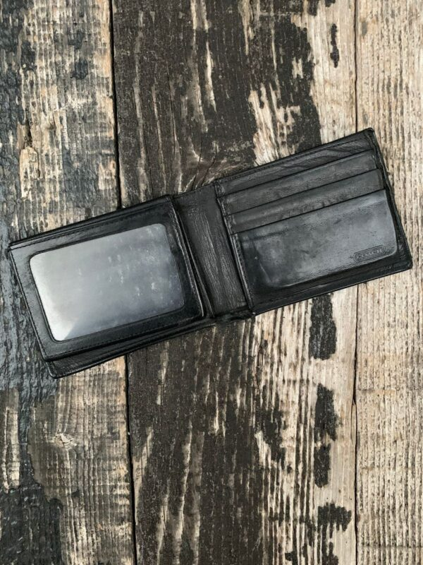product details: CLASSIC BLACK LEATHER BIFOLD WALLET WITH ID FLAP photo
