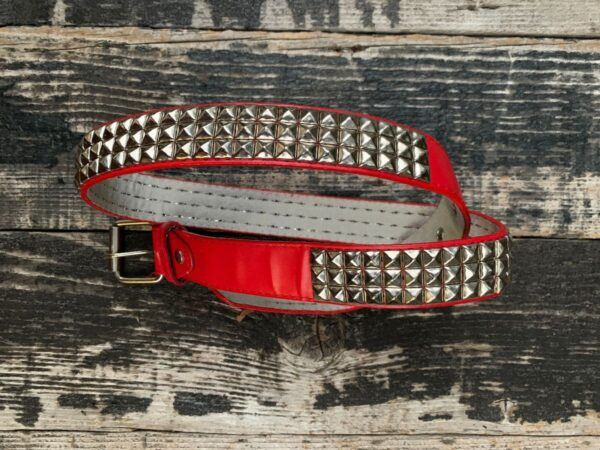 product details: LEATHER THREE ROW PYRAMID STUD PUNK ROCK GOTHIC 70S BRITISH STUDDED RED BELT photo