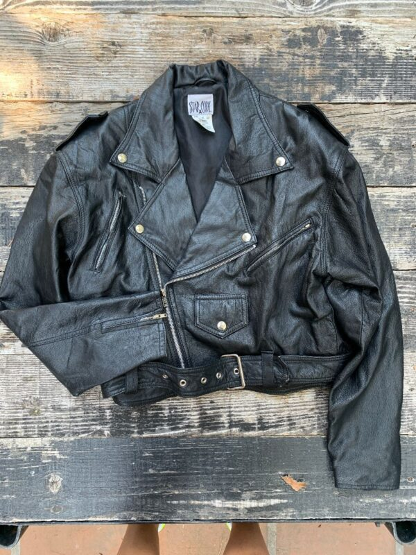 product details: CLASSIC LEATHER BIKER JACKET WITH FRONT BELT AND ZIP UP BUTTON COLLAR photo