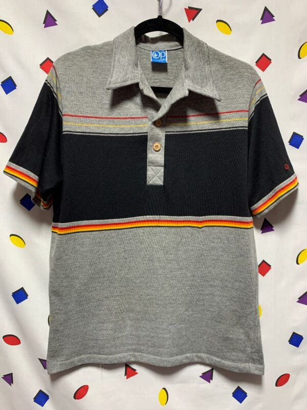 product details: RAD 1980S OCEAN PACIFIC KNIT BLACK GREY COLOR BLOCK STRIPE POLO STYLE SHIRT photo