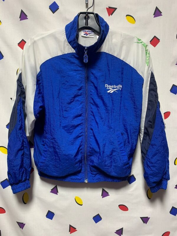 product details: KIDS REEBOK BLUE WHITE MULTI  WINDBREAKER ZIP UP JAKET AS IS photo