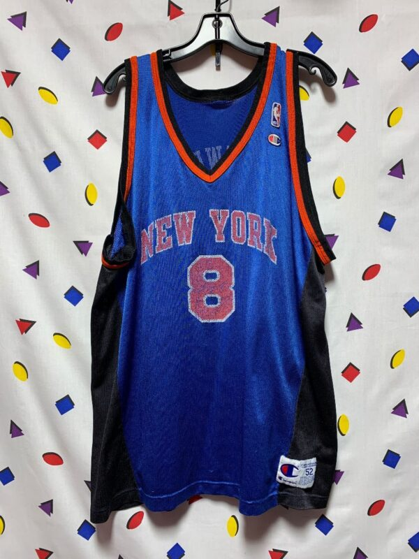 product details: *DISTRESSED* CHAMPION NBA NEW YORK KNICKS #8 LATRELL SPREWELL JERSEY AS IS photo