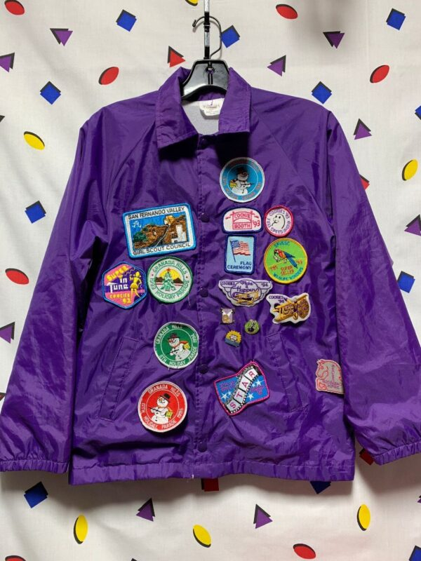 product details: KIDS FULLY PATCHED GRANADA HILLS GIRL SCOUT MERIT BADGE BUTTON UP SATIN COACH JACKET photo