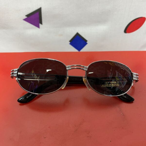 product details: 1990S DEADSTOCK OVAL SUNGLASSES 3 LINES CHROME photo