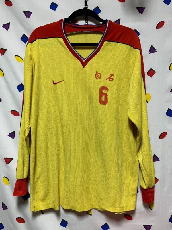 product details: RARE LONG SLEEVE NIKE PACIFIC SOCCER JERSEY NUMBER 6 AS-IS photo