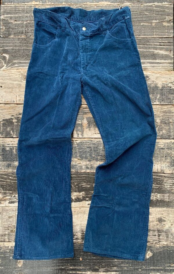 product details: ADORABLE CORDUROY HIGH RISE DEEP BLUE BELLBOTTOM TROUSERS photo