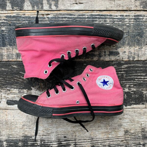 product details: TOTALLY CUTE CONVERSE 2 TONE BLACK AND PINK HI-TOP CHUCK TAYLOR ALL STARS photo