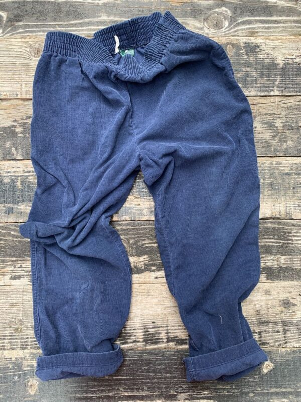 product details: RETRO ELASTIC WAIST THIN CORDUROY BLUE TROUSERS SIDE AND BACK POCKET photo