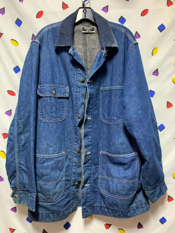 product details: BLANKET LINED WORKWEAR DENIM JACKET BUTTON DOWN FRONT POCKETS CORDUROY COLLAR photo