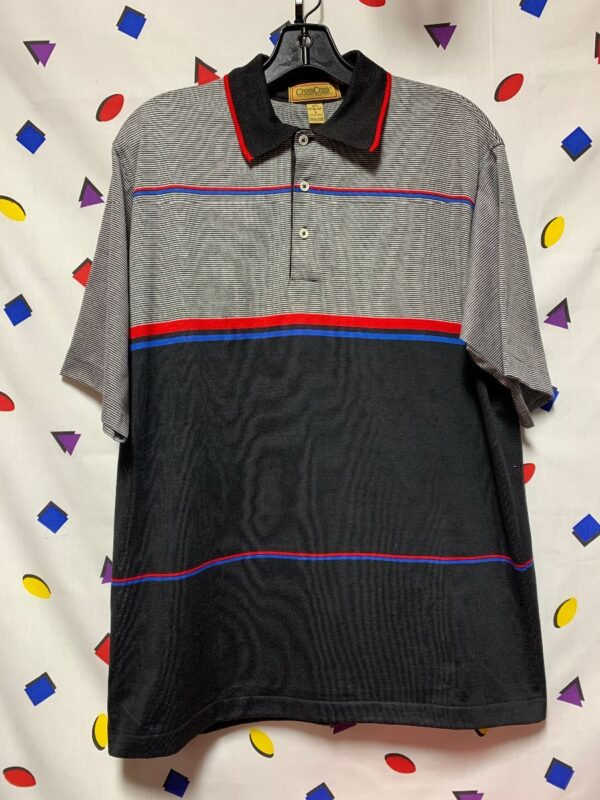 product details: DEADSTOCK BUSINESS CASUAL MENS GOLF POLO HORIZONTAL STRIPED SHIRT photo
