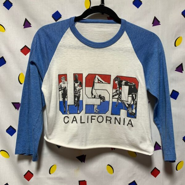 product details: EARLY 1980S VINTAGE USA CALIFORNIA ATHLETIC FITNESS RUN GYMNASTICS CROPPED RAGLAN TEE photo