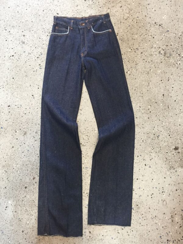 product details: 1970S FAR OUT DEADSTOCK BELL BOTTOM CONTRAST TRIM DENIM TROUSERS photo
