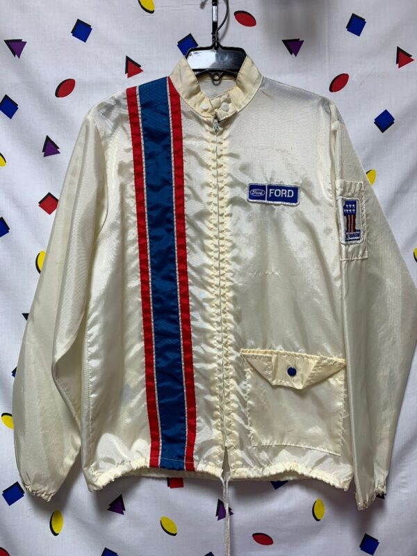 product details: 1960S FORD AND HARLEY DAVIDSON SPONSORED RACER ZIP UP JACKET SNAP POCKETS AND PATCHES photo