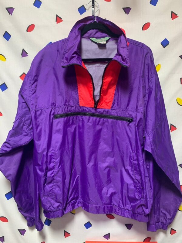 product details: 1990S COLORBLOCK HALF ZIP PULLOVER WINDBREAKER JACKET WITH CHEST POCKET photo