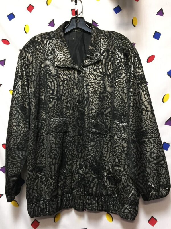 product details: UNIQUE 1980S SILKY SLOUCHY FULL BUTTON BOMBER JACKET ALLOVER TIGER METALLIC SILVER PRINT JACKET photo