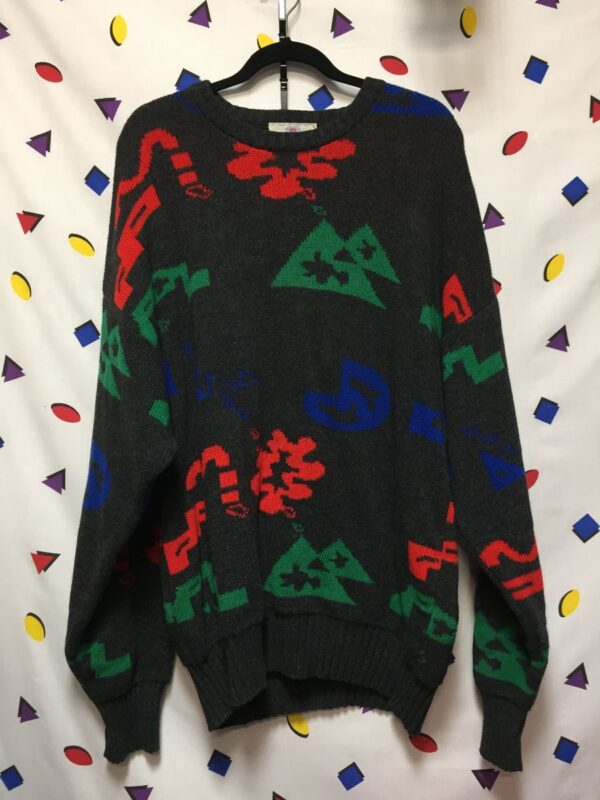 product details: FUNKY COOL ARTISTIC ABSTRACT PRINT WOOL SWEATER photo
