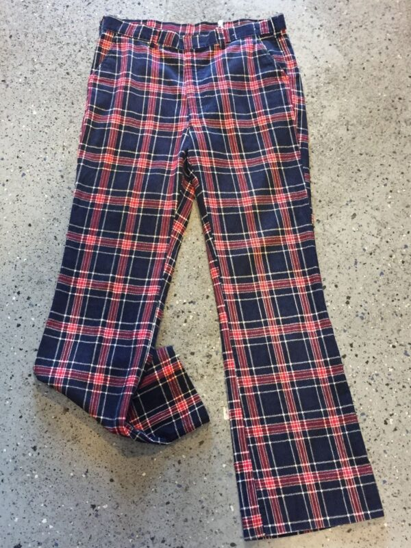 product details: FUNKY PLAID CORDUROY BELL BOTTOM FLARE TROUSERS photo