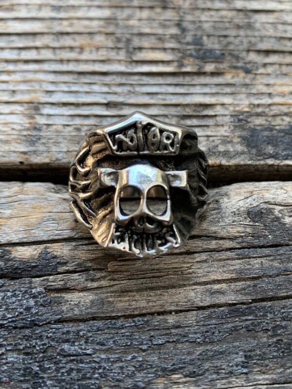 product details: MOTORCYCLE SKULL AND FLAMES CHUNKY STAINLESS STEEL BIKER RING photo