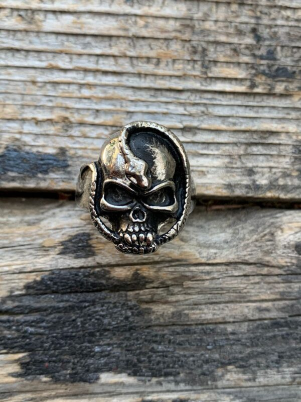 product details: SNAKE WRAPPING AROUND SKULL CHUNKY STAINLESS STEEL BIKER RING photo