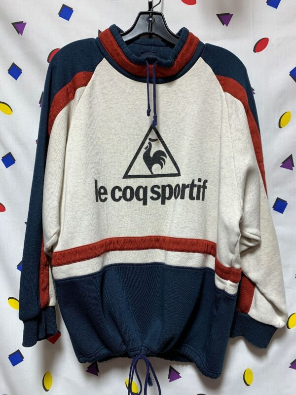 product details: VINTAGE 90S STRIPED PULLOVER CINCH NECK AND WAIST BIG FRONT FRENCH LOGO AS-IS photo