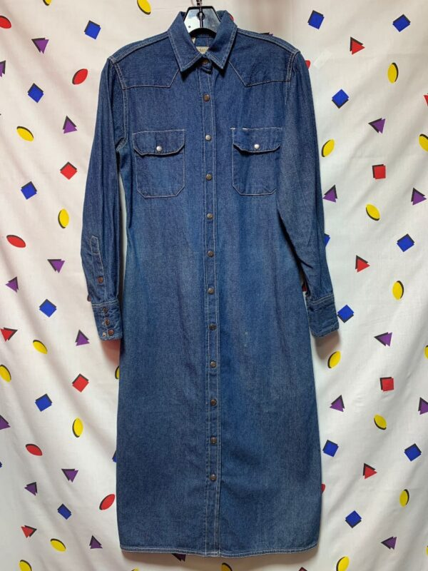product details: LS BD DENIM DRESS 100% COTTON SNAP BUTTON CLOSURE 2-07 photo