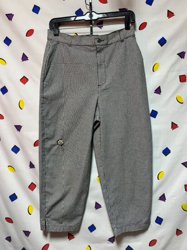 product details: WOMENS PETITE CHECKERED CROPPED 80S TROUSERS W/ LITTLE SUNFLOWER PATCH AS-IS photo