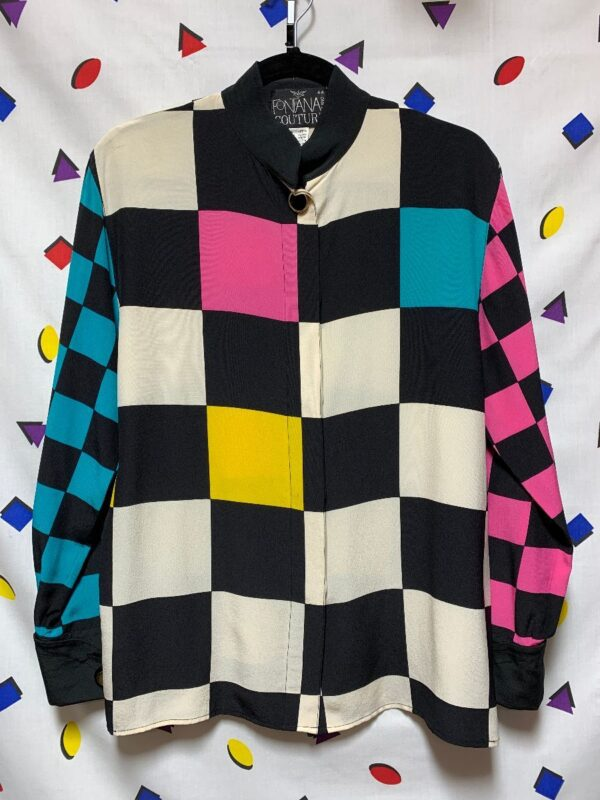 product details: COLORFUL CHECKER PATTERN SILK BUTTON UP SHIRT MADE IN ITALY 11-27 photo