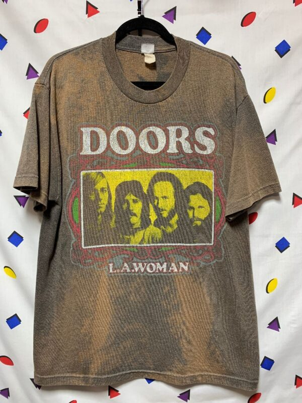 product details: HEAVILY DISTRESSED THE DOORS T SHIRT LA WOMAN DISTRESSED LOGO OFFICIAL 50/50 BLEND photo
