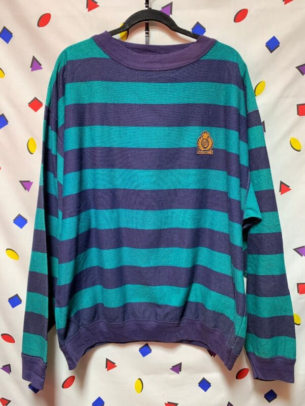 product details: RAD 1990S LONG SLEEVE COLOR BLOCK STRIPED PULLOVER RUGBY SHIRT AS-IS photo