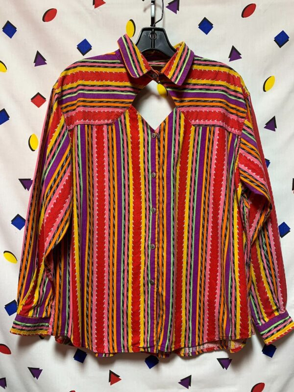 product details: LS BD FUNKY VERTICAL STRIPED SOUTHWESTERN PRINT SHIRT W/ DIAMOND CUT OUT photo