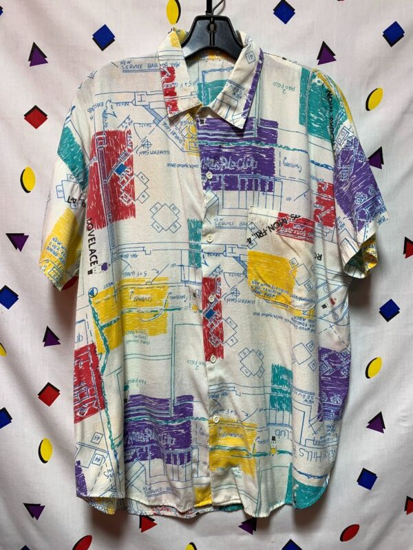 product details: 1980S BEVERLY HILLS POLO CLUB BLUEPRINT DRAWING PRINT SS BD COLLARED SHIRT AS-IS photo